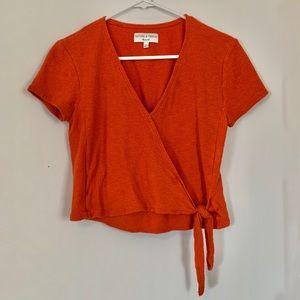 Madewell Texture & Thread Wrap Top - Orange XS